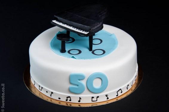 עוגת יום הולדת 50 פסנתר מעוצב בבצק סוכר
