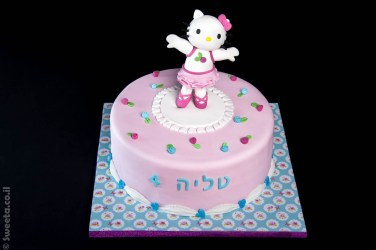 עוגה מעוצבת של קיטי מפוסלת רקדנית בלט