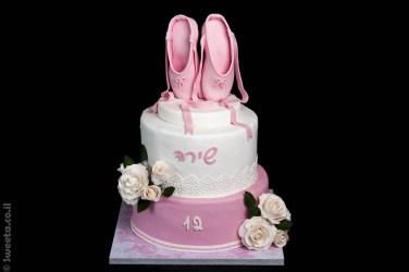 עוגת בת מצווה מעוצבת בצק סוכר בלט