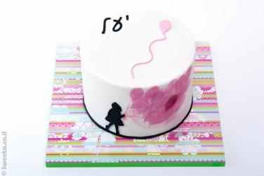 בלונים מצוירים מבצק סוכר עוגת יומולדת ליעל