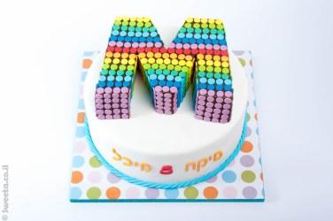 עוגה בצורת האות אם למיקה ומיכל מעוצבת מבצק סוכר