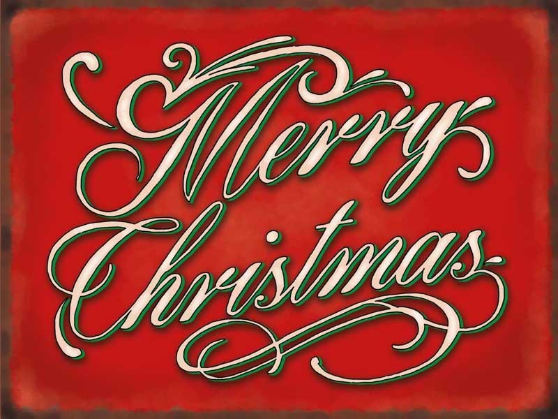 Merry Christmas Metal Wall Sign 3 Sizes