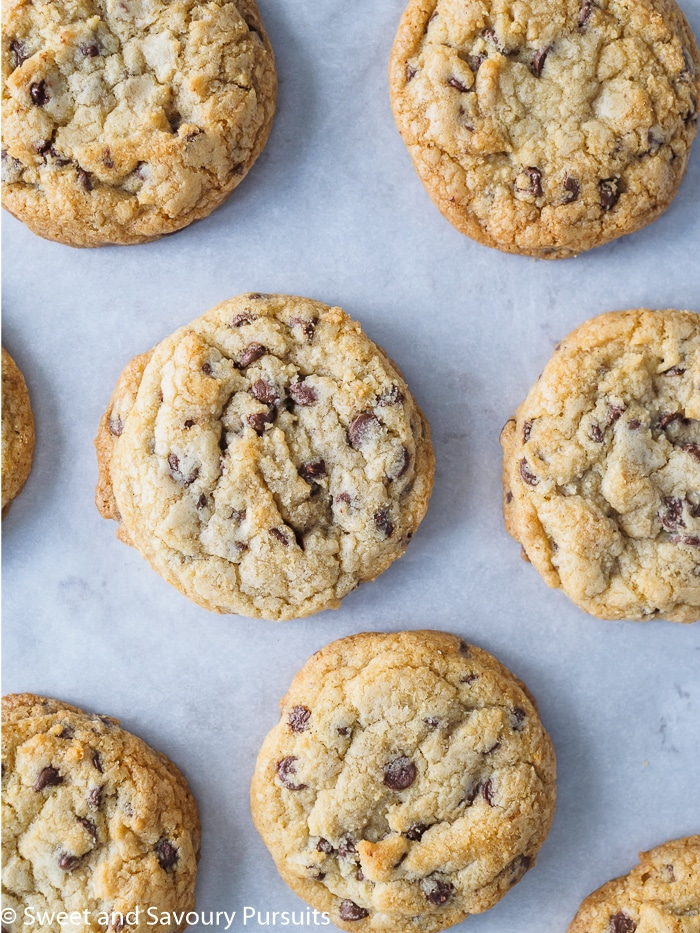 Freshly baked Chewy Chocolate Chip Cookies on baking tray