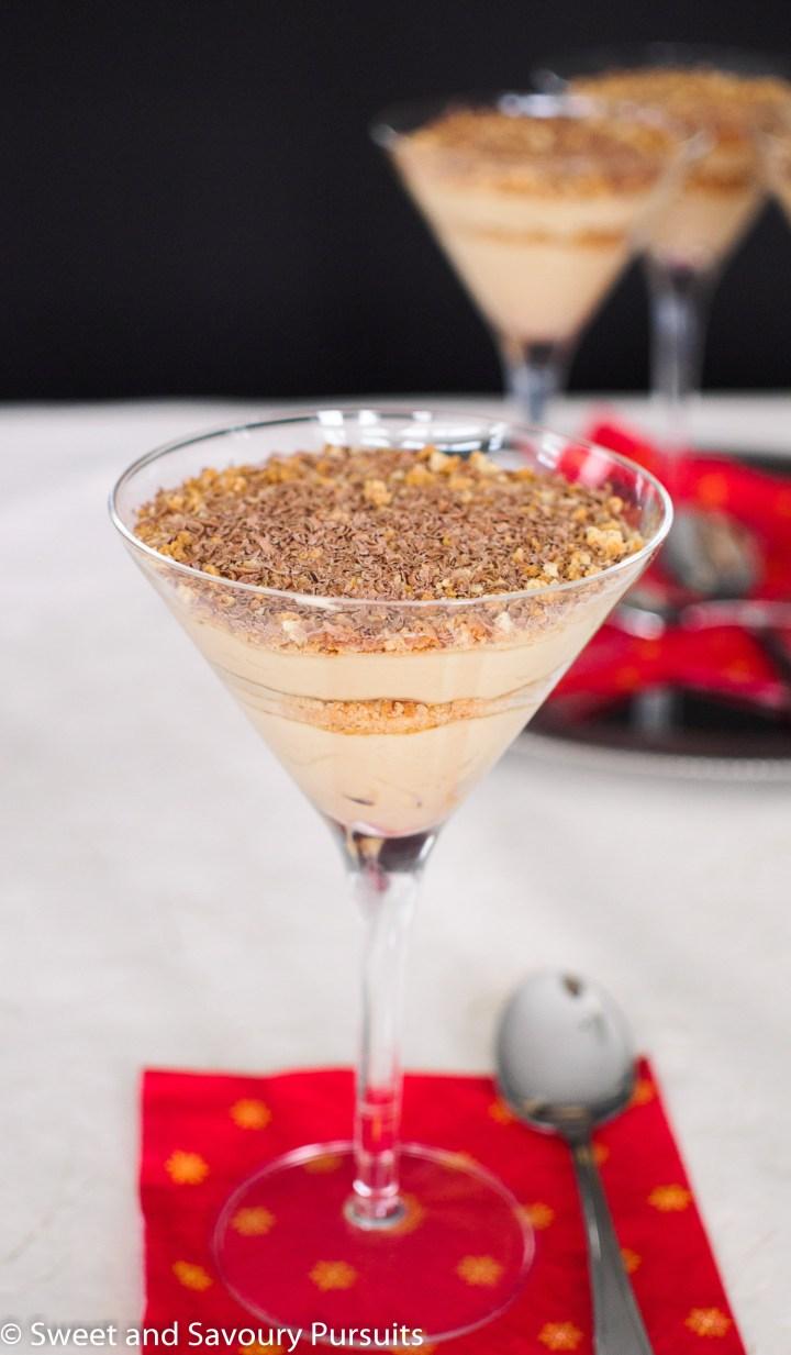 Mascarpone Espresso and Amaretti Parfaits served in martini glasses.