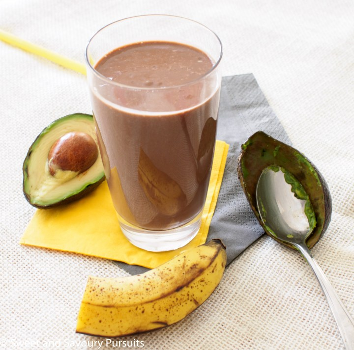 A full glass of Avocado and Chocolate Smoothie.