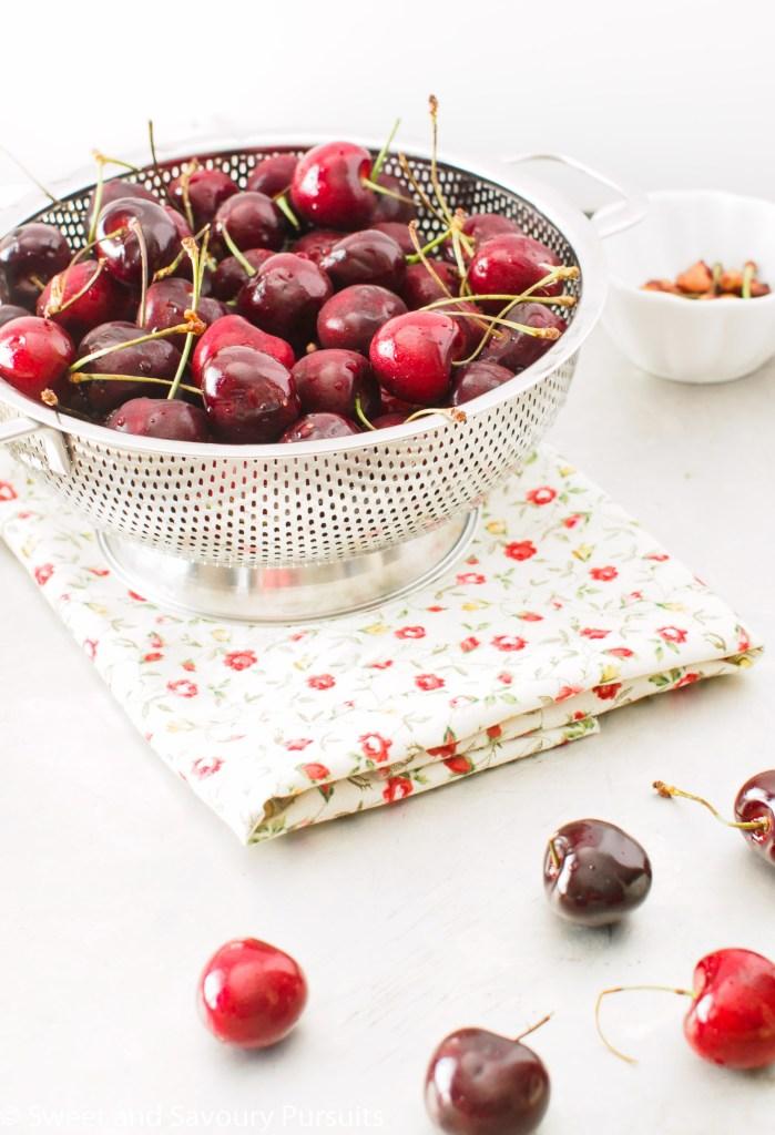 Bowl of freshly washed cherries