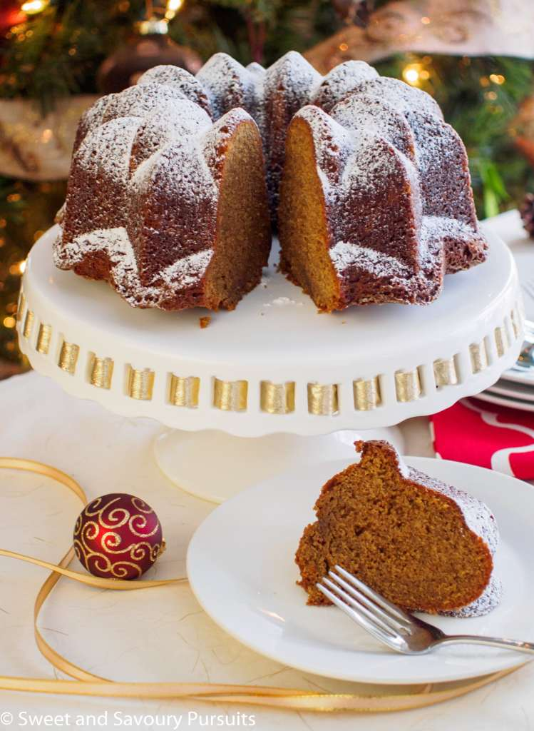 Espresso Gingerbread Bundt Cake with slice cut out.