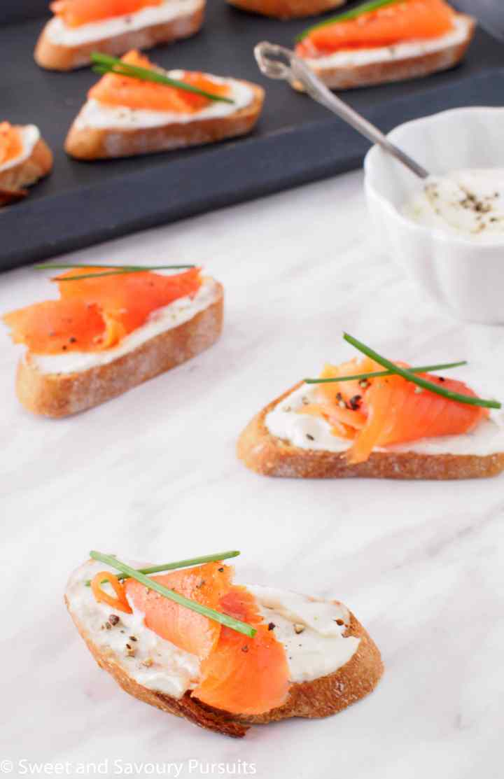 Crostini with Smoked Salmon.