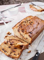 Peanut Butter and Chocolate Chip Loaf on cutting board.