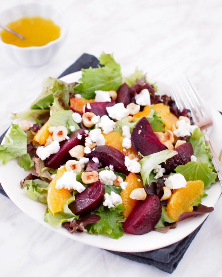 Plate of Roasted Beet and Orange Salad served with Citrus Vinaigrette