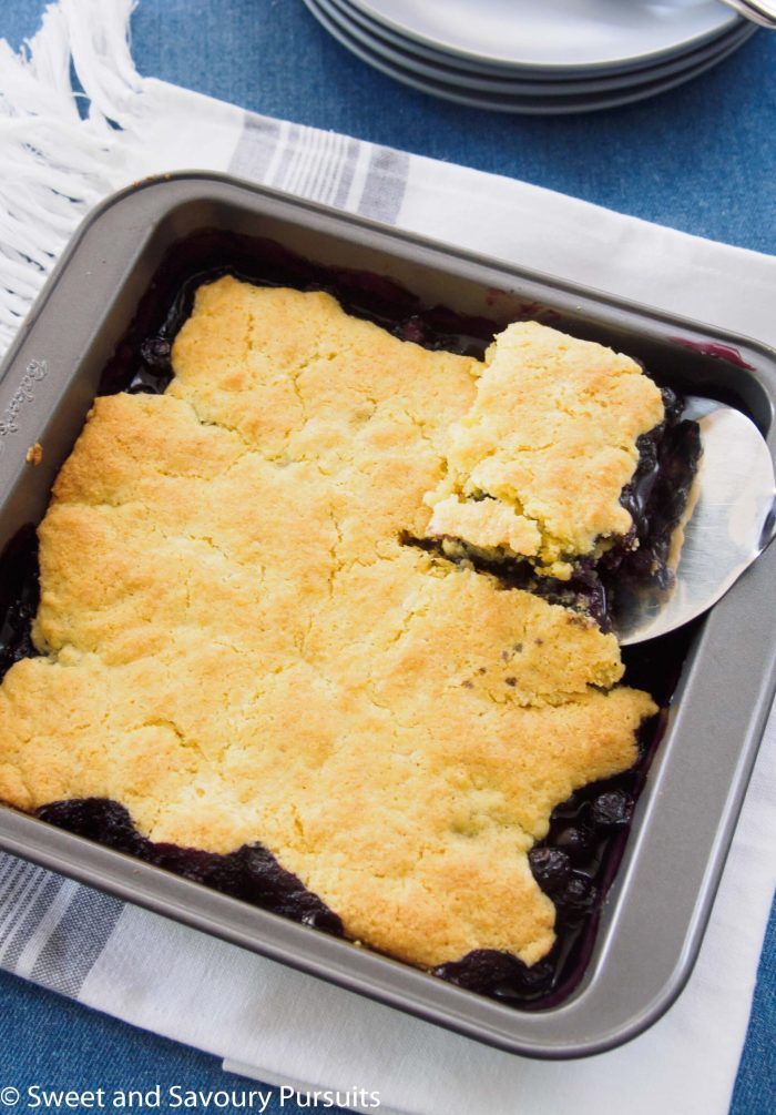 Top view of a Baked Blueberry Cobbler