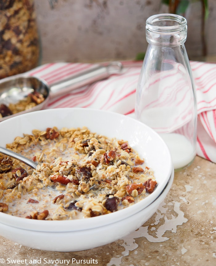Bowl of Maple Pecan Granola with Dates.