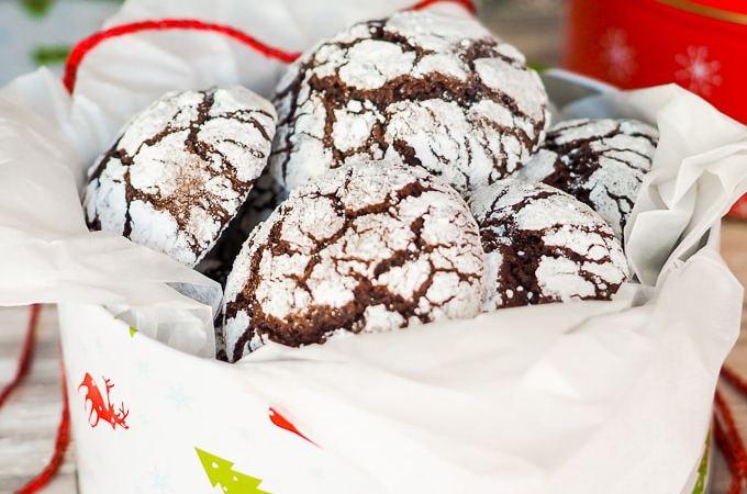 Holiday Chocolate Crinkle Cookies