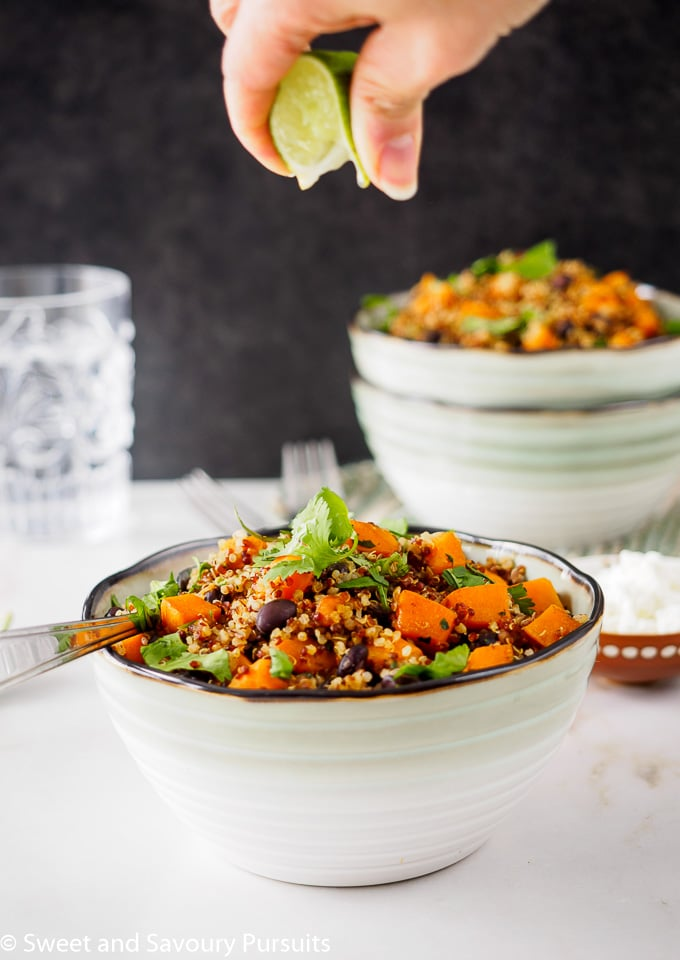 Bowl of quinoa with sweet potato and black beans