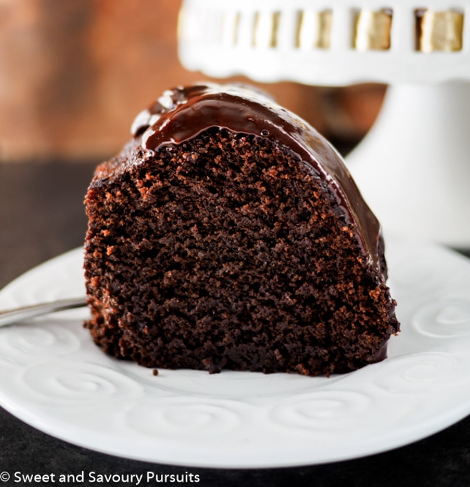 Slice of chocolate bundt cake.