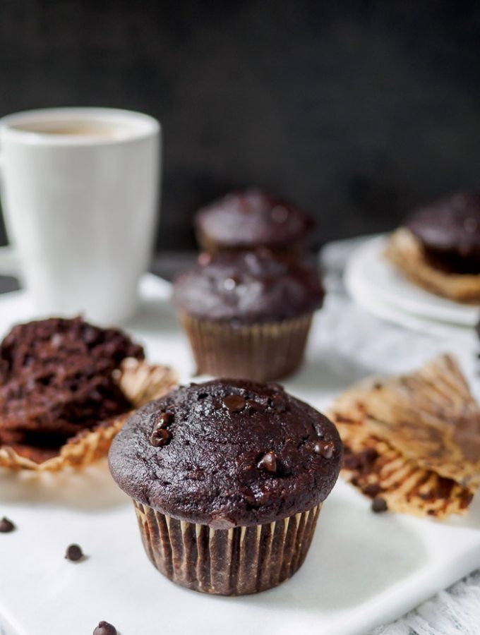 Whole Wheat Double Chocolate Banana Muffins