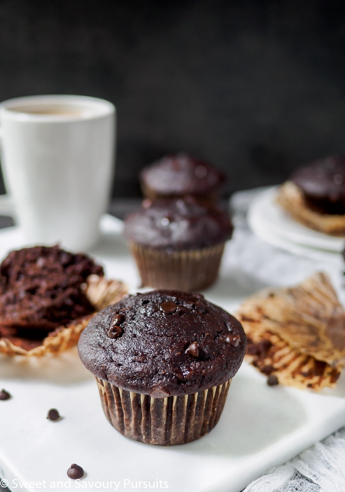 These healthier Whole Wheat Double Chocolate Banana Muffins are so incredibly delicious they can even be enjoyed as a dessert!