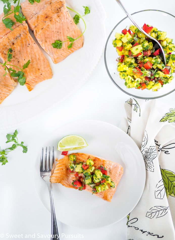 With a fresh taste and tropical feel, this Pan Fried Rainbow Trout with Pineapple Salsa makes an excellent light summer meal.