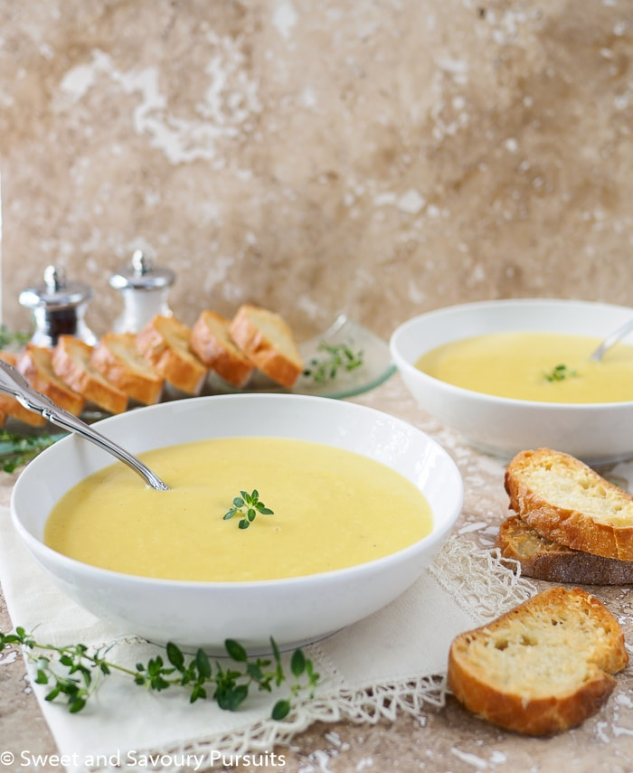 Creamy Leek and Potato Soup with Garlic Parmesan Crostini