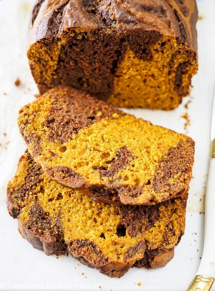 Chocolate Swirled Brown Sugar Pumpkin Loaf