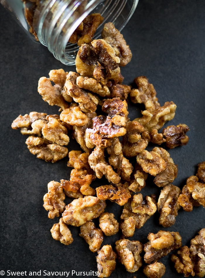 Walnuts covered in a light maple syrup glaze and a mixture of warm spices