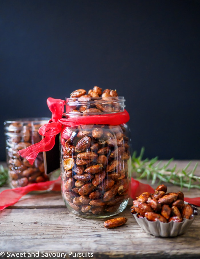 Rosemary Roasted Almonds in mason jars.