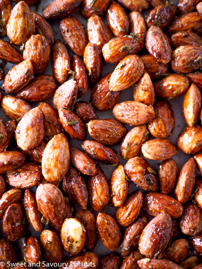 Rosemary Spiced Roasted Almonds on baking sheet.