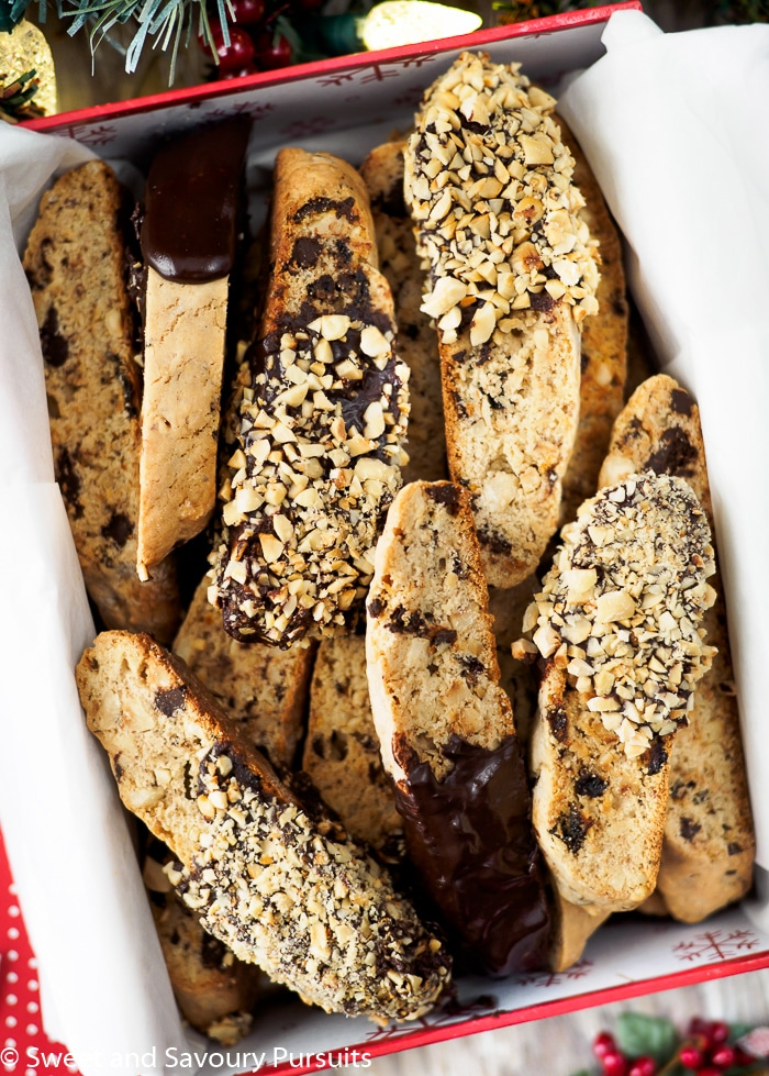 This Hazelnut Chocolate Biscotti is loaded with chunks of chocolate, dried cherries and hazelnut pieces. Keep them plain or dip them in chocolate and chopped hazelnuts for an extra decadent treat!
