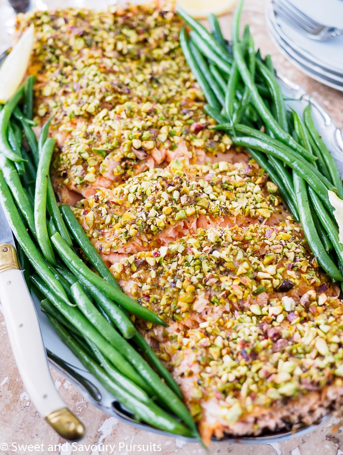 This healthy Pistachio Crusted Salmon is both an easy and quick option for a weeknight dinner and also makes an elegant main for a dinner party.