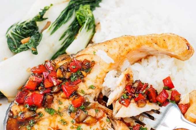 Thai Baked Salmon with Cilantro-Chili Sauce