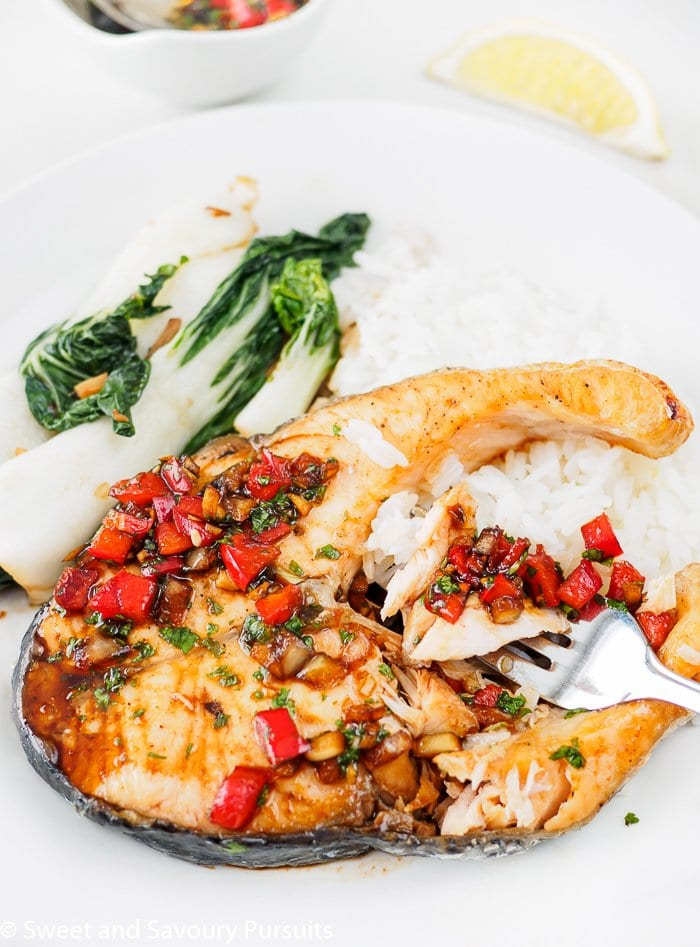 Thai Baked Salmon with Cilantro-Chili Sauce