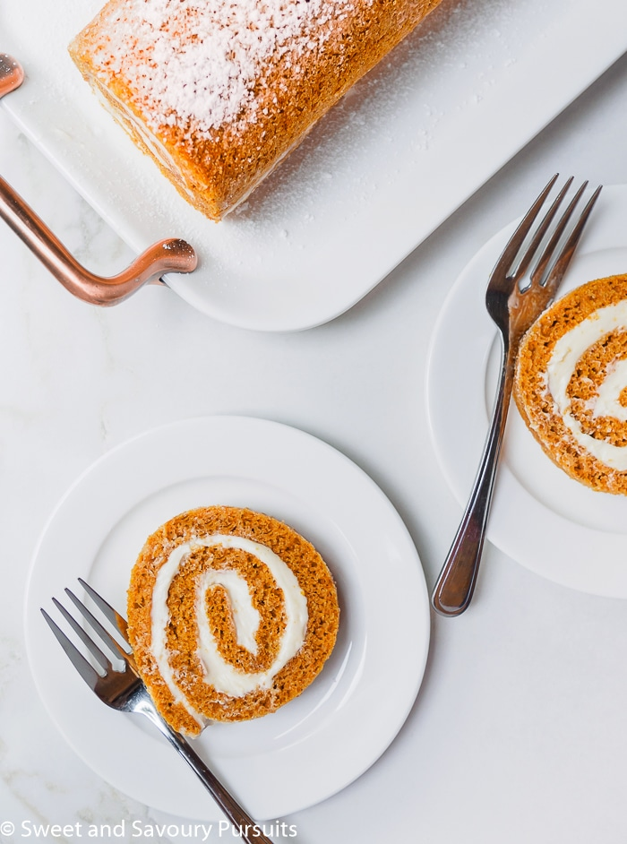 Slices of a Maple Pumpkin Roll Cake