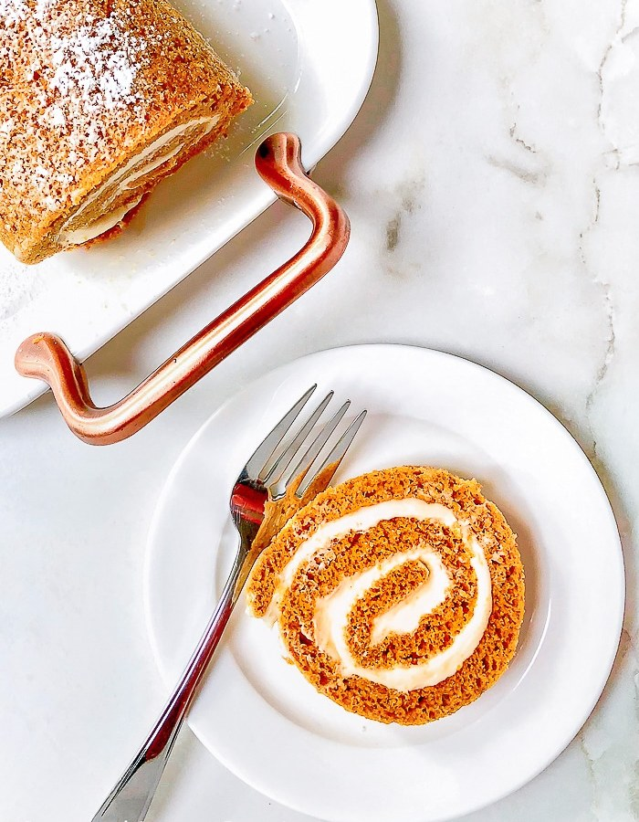 Pumpkin Roll Cake with maple flavoured cream cheese filling.