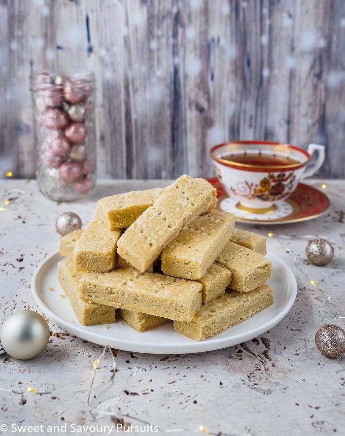 Dish with Espresso Cardamom Shortbread Cookies