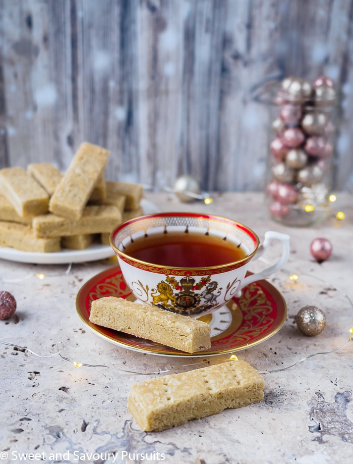 Cup of tea with Espresso Cardamom Shortbread Cookies