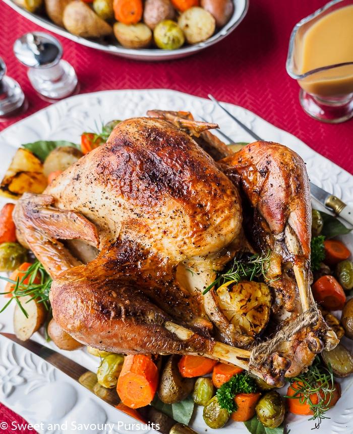 Roasted turkey on platter.