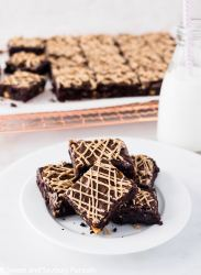 Salted Caramel Chip Brownies served with milk.