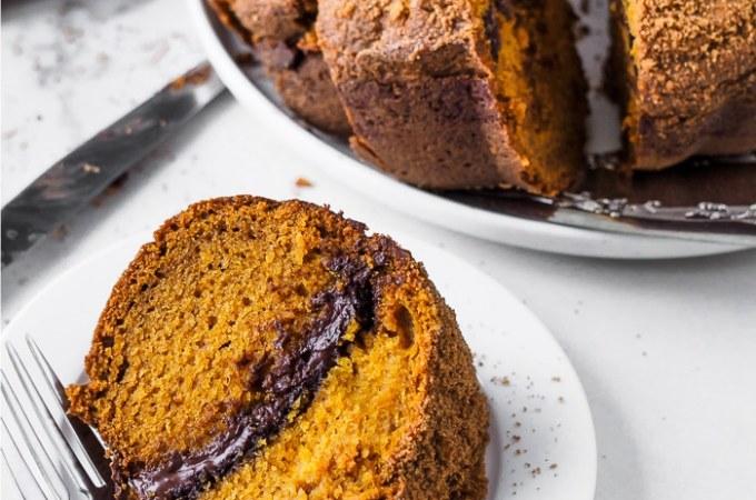 A Pumpkin Chocolate Swirl Bundt Cake