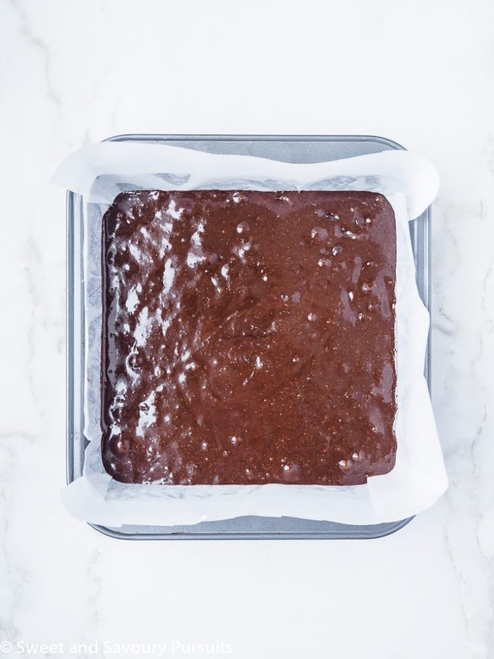 Tray of unbaked Gluten-Free Almond Flour Brownies