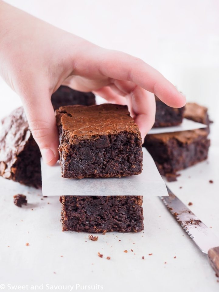 Slice of Gluten-Free Almond Flour Brownies