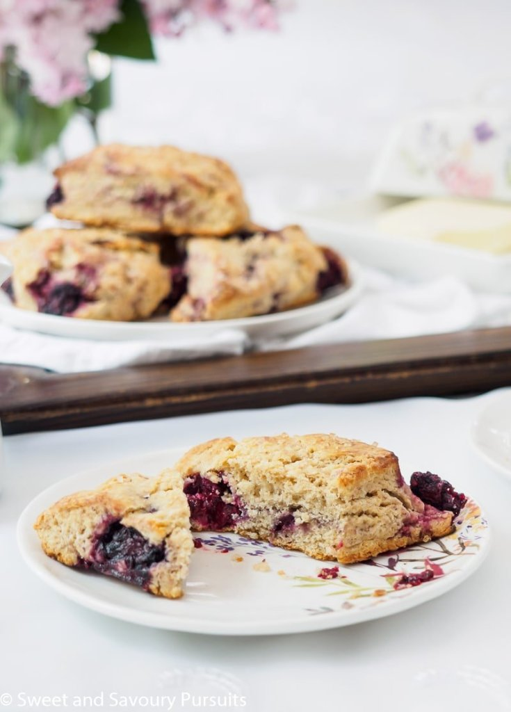 Plate of Blackberry Scones spiced with vanilla and just a hint of cinnamon.