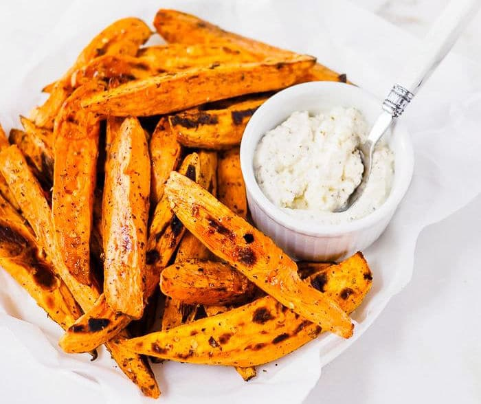 Plate of Baked Sweet Potatoes with a Feta Cheese