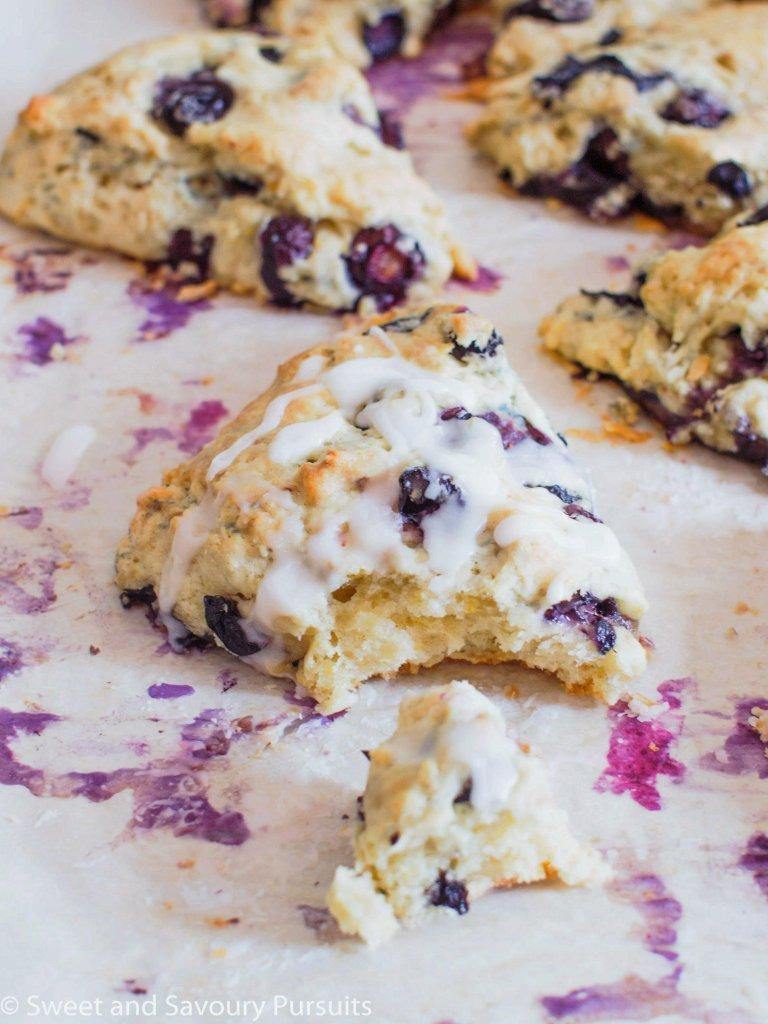 Freshly baked Blueberry and Lemon Scones still on baking tray.