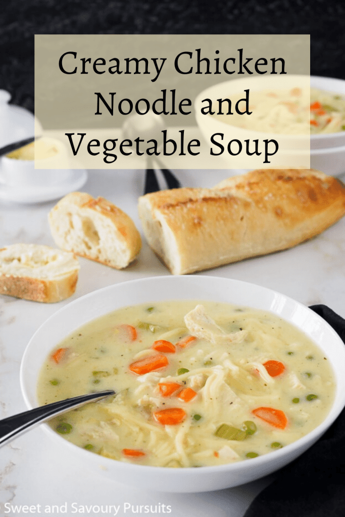 Bowl of Creamy Chicken Noodle and Vegetable Soup