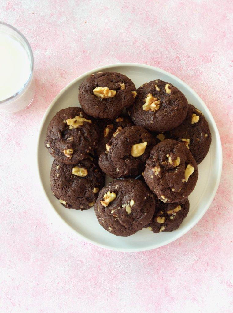 Plate of Fudgy Chocolate Walnut Cookies