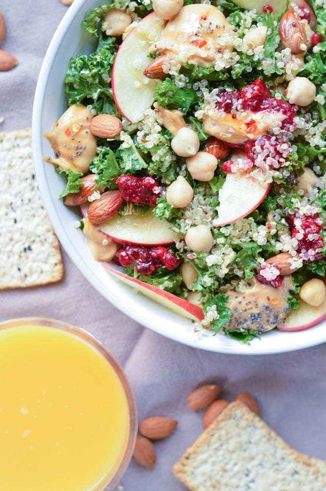 Kale Quinoa Salad with Almond Butter Dressing