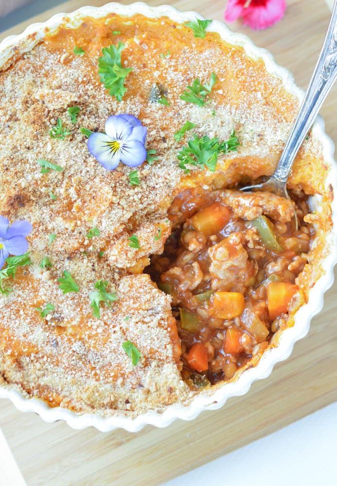 Sweet Potatoes Turkey Shepherd's Pie with Lentils   Thanksgiving leftovers recipe