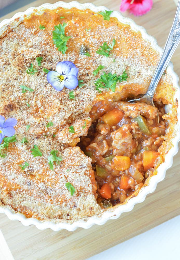 Sweet Potatoes Turkey Shepherd's Pie with Lentils