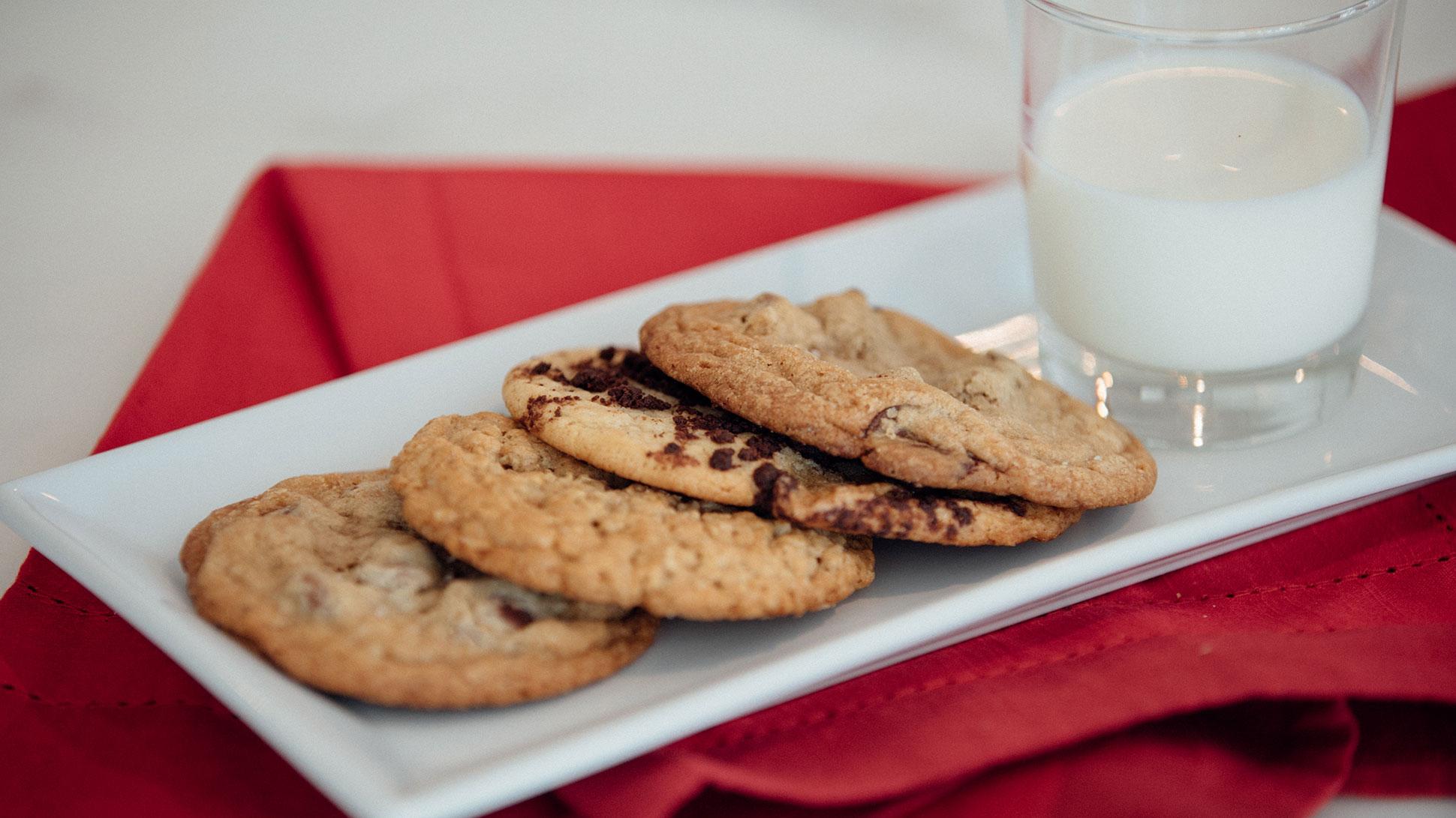 Platter of Sweet Bee Bakeshop Cookies and Milk