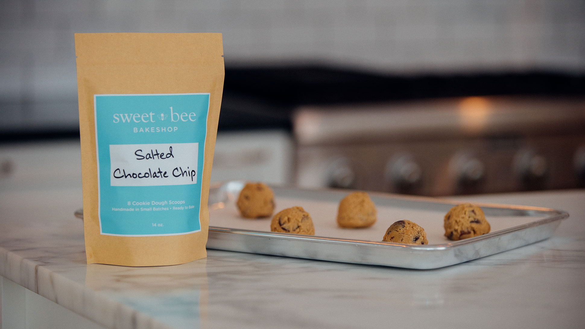 Bag of Sweet Bee Bakeshop Salted Chocolate Chip Flavor Frozen Cookie Dough